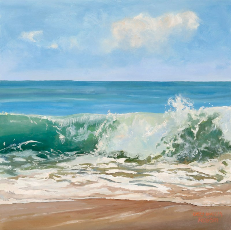 Wave Burst Green 12 x 12 oil on panel