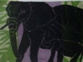 Elephant and Baby, purple, green