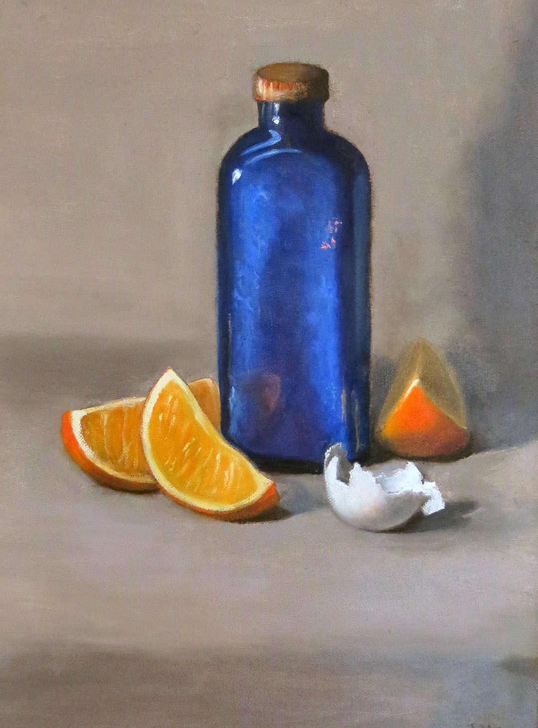 BLUE BOTTLE, oil, 16 X 12
