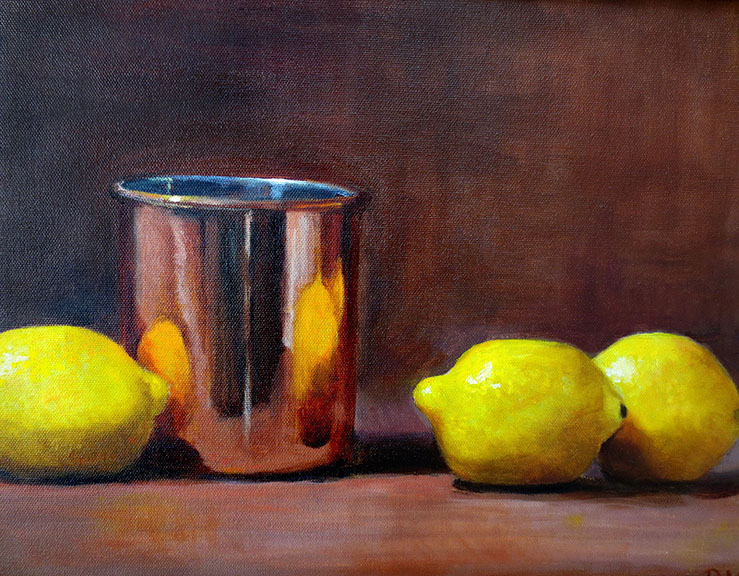 COPPER POT WITH LEMONS, oil, 12x16